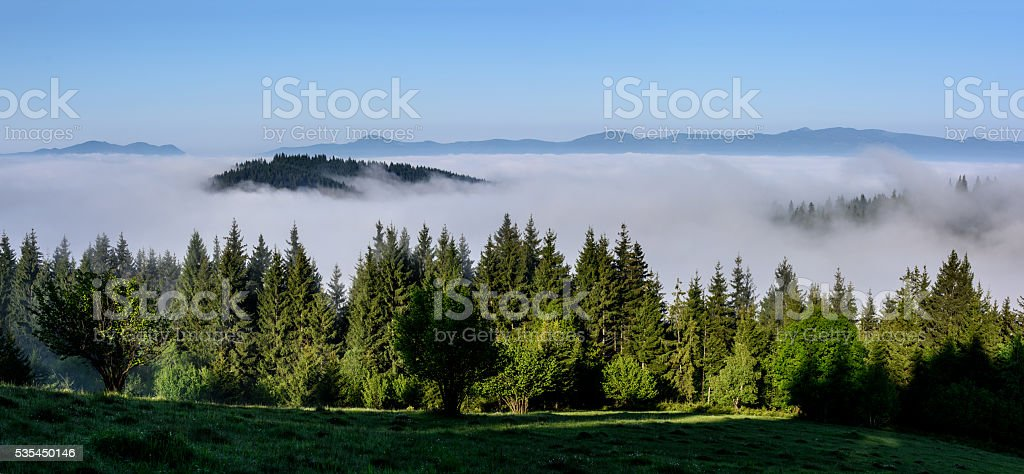 Foggy Landscape in Mountains. stock photo