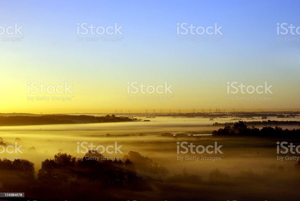 Foggy Landscape in Schleswig-Holstein stock photo