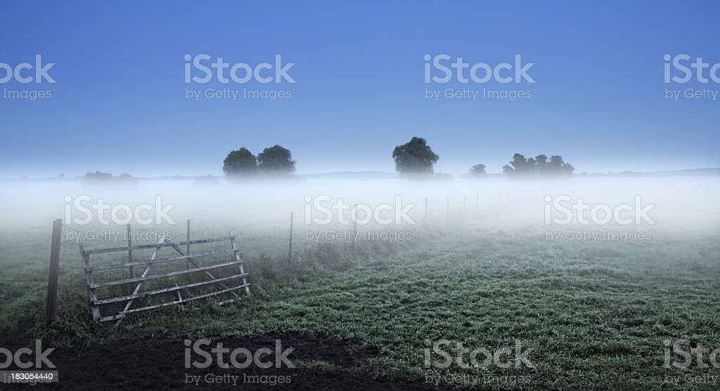 Foggy landscape in the evening stock photo