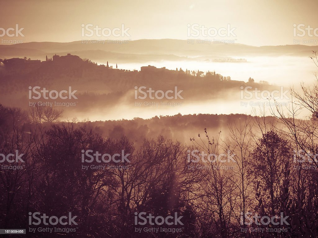 Foggy landscape in Tuscany royalty-free stock photo