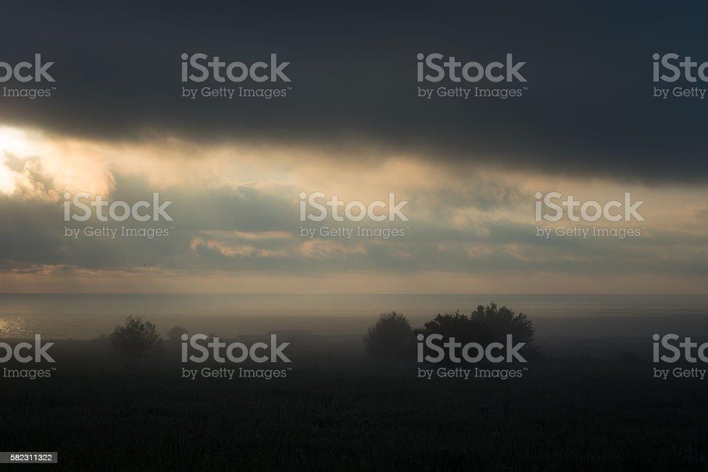 Foggy landscape, near Cape Kaliakra, Bulgaria stock photo
