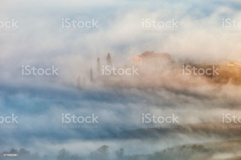 Foggy Landscape, Orcia Valley, Tuscany, Italy royalty-free stock photo
