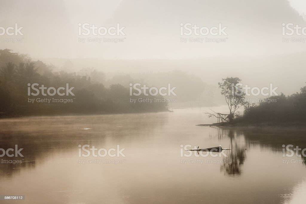 Foggy landscape with a tree silhouette on a fog stock photo