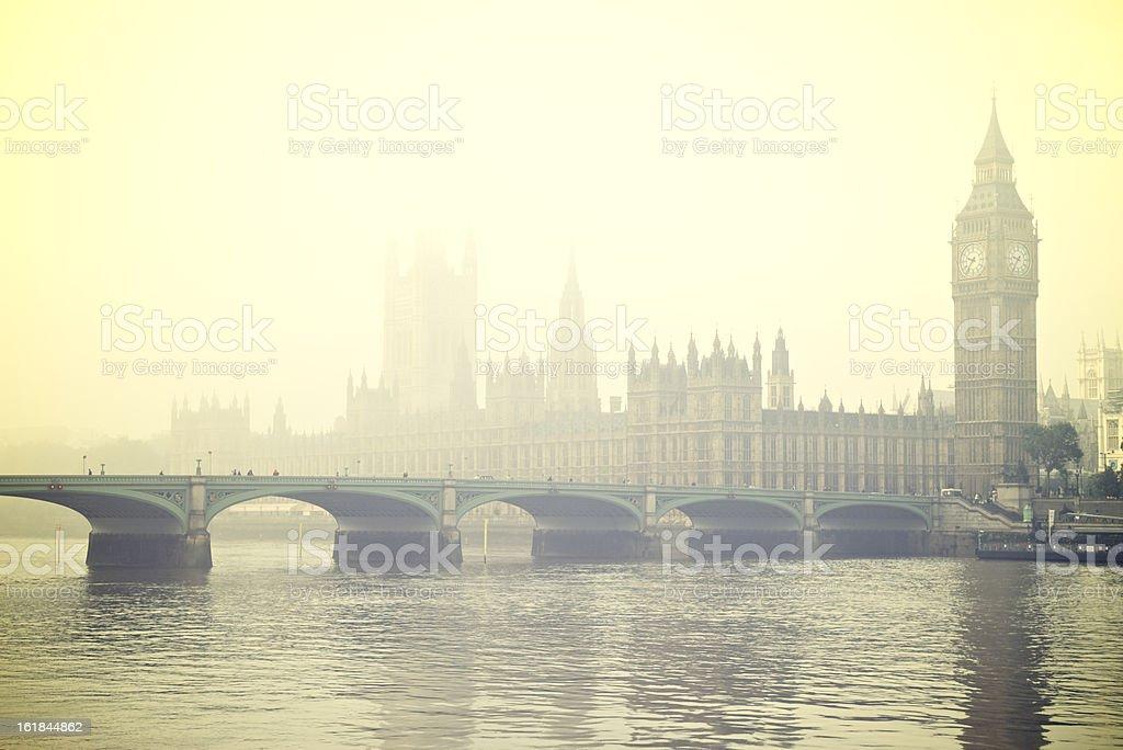 Foggy London Big Ben Westminster Bridge Thames royalty-free stock photo