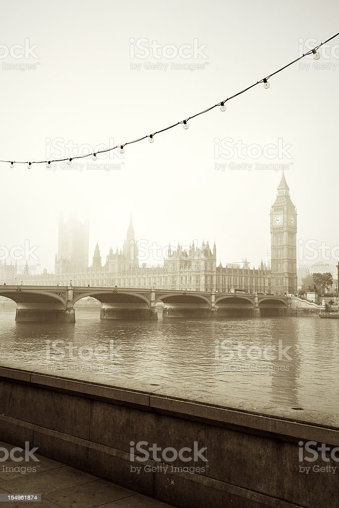 Foggy London Morning Classic River Thames View royalty-free stock photo