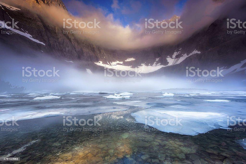 Foggy Morning at Iceberg Lake royalty-free stock photo