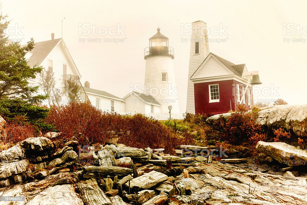 Foggy Morning at Permaquid Point Lighthouse stock photo