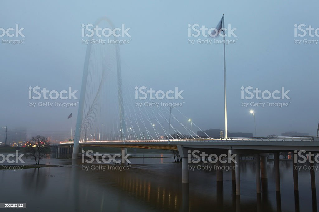 Foggy morning bridge into Dallas stock photo