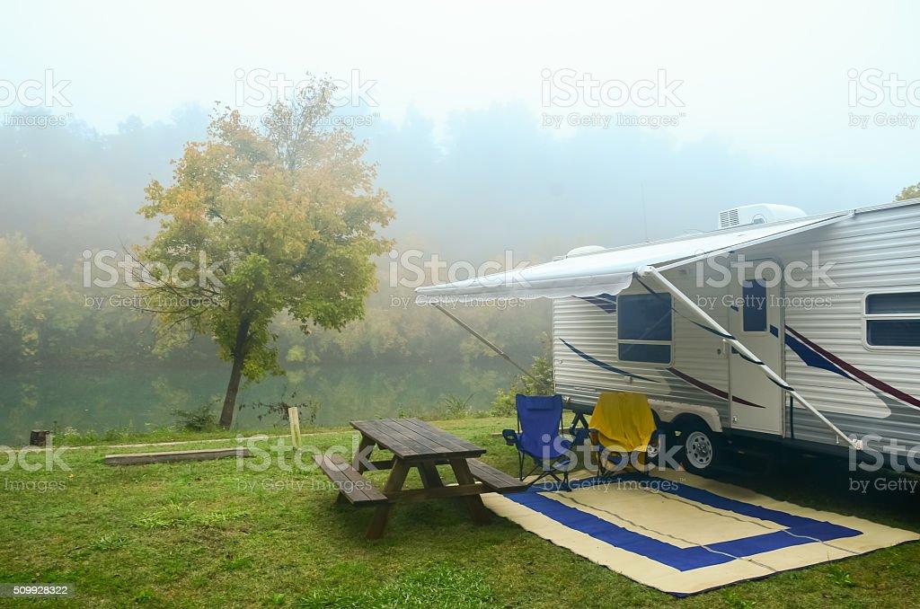 Foggy Morning Campsite stock photo
