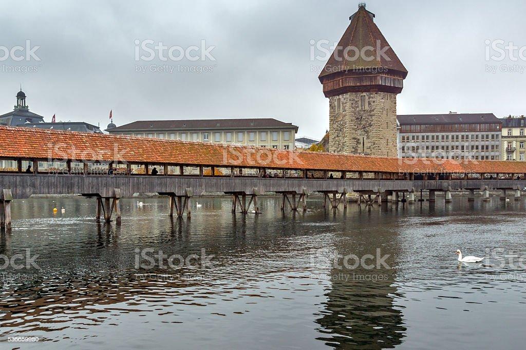 Foggy morning Chapel Bridge over Reuss River, Lucerne stock photo