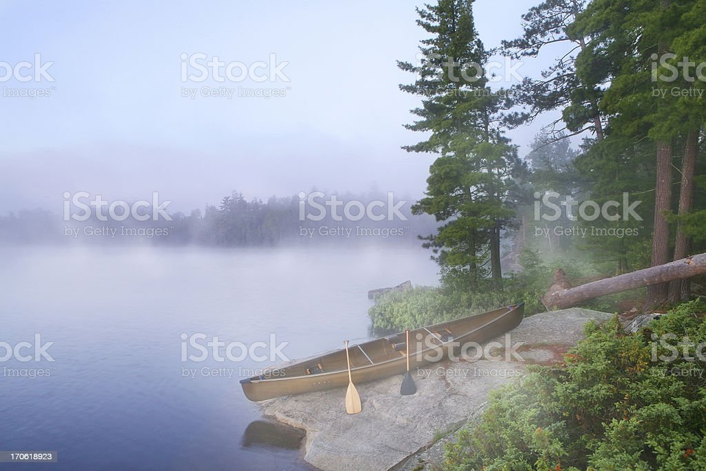 Foggy Morning in Canoe Country stock photo