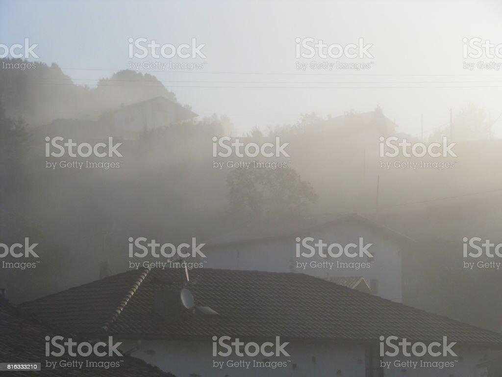Foggy morning in Igantzi again stock photo