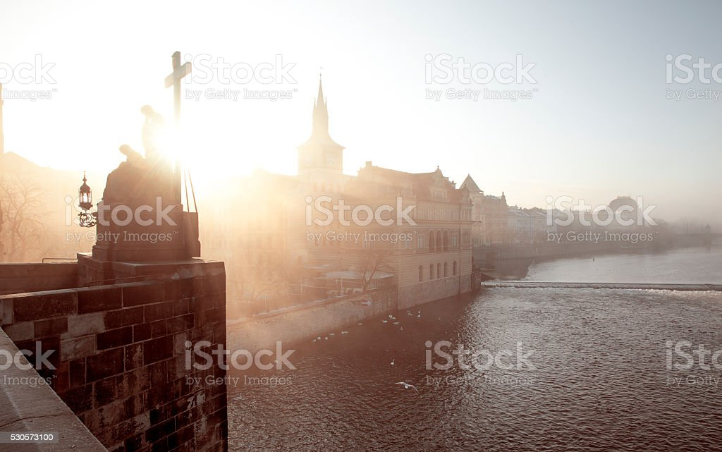 Foggy morning in Prague, Czech Republic stock photo