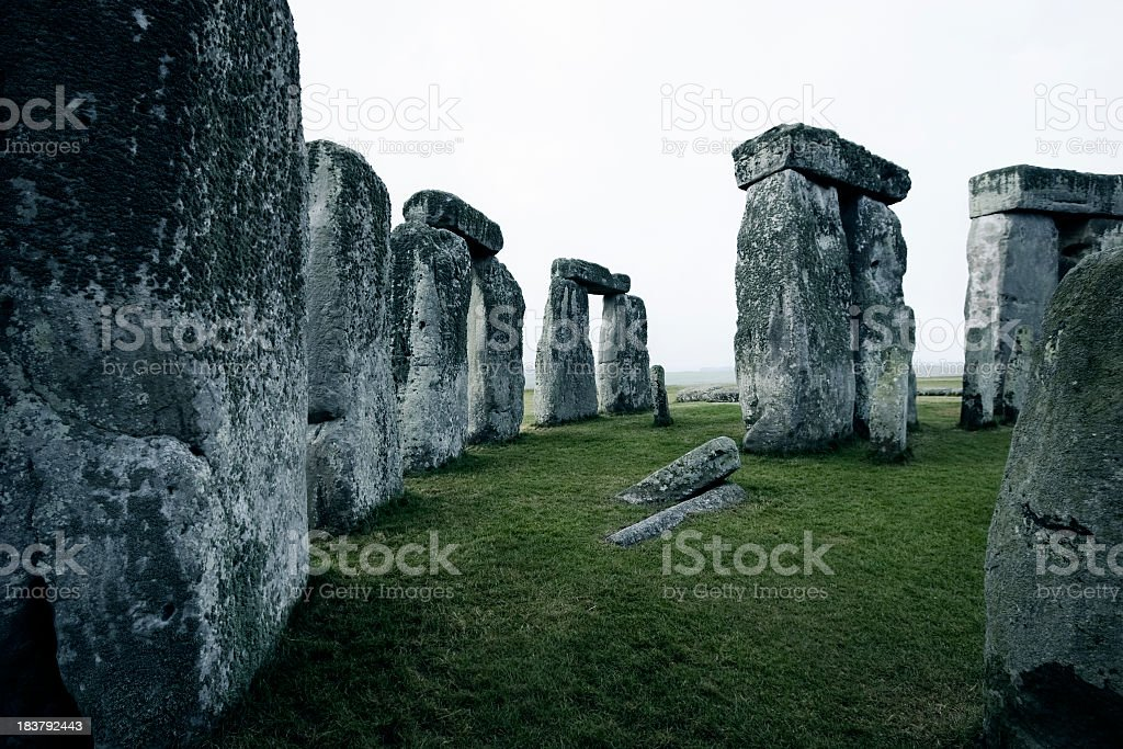 Foggy morning in Stonehenge stock photo
