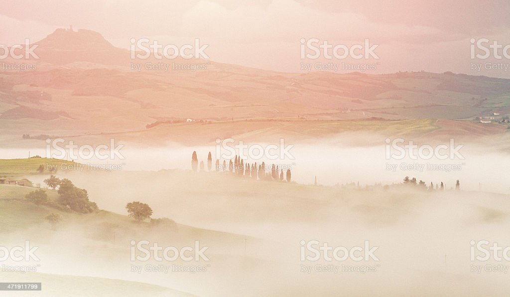 foggy morning in Tuscany royalty-free stock photo