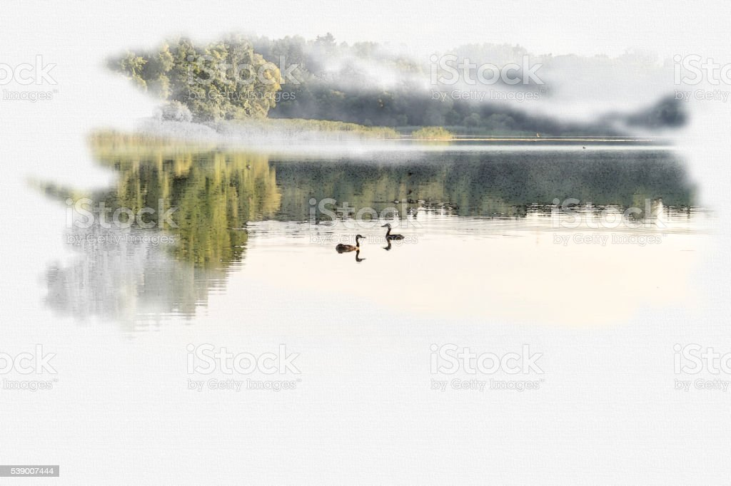 Foggy morning. Morning mist moving over the lake. stock photo