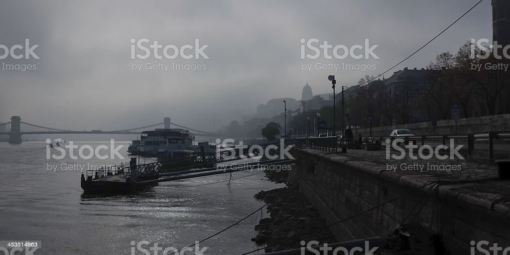 Foggy morning on Danube river, Budapest, Hungary royalty-free stock photo
