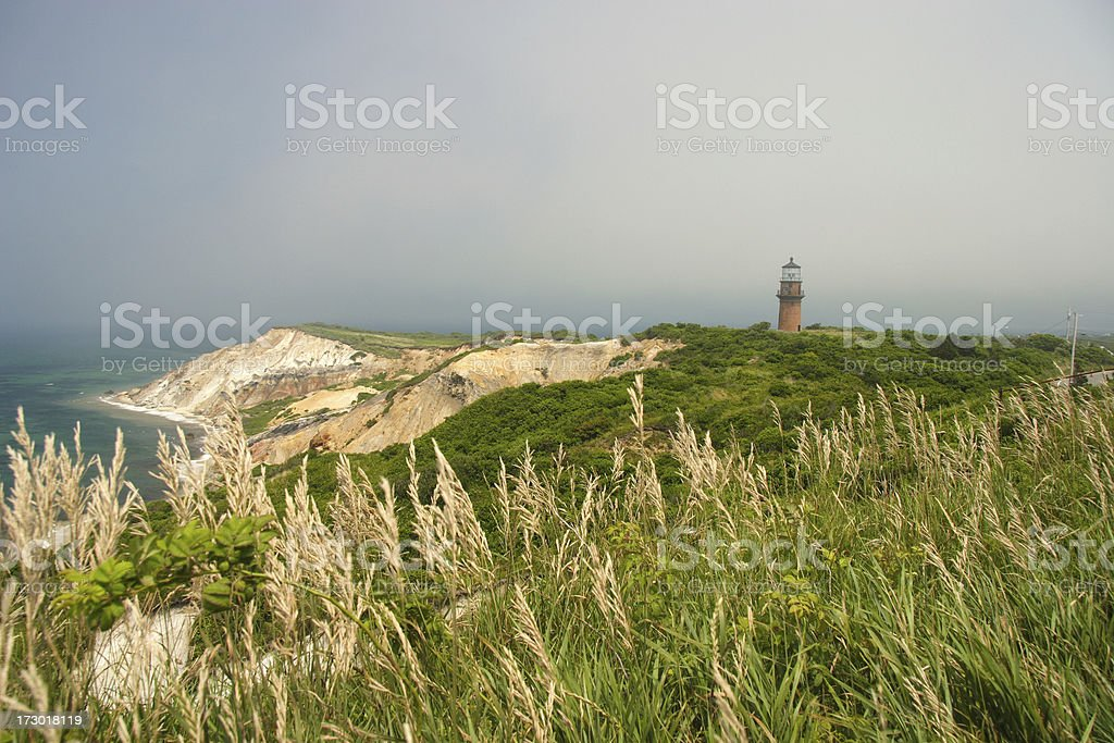 Foggy morning over Gay Head lighthouse in Martha's Vineyard royalty-free stock photo