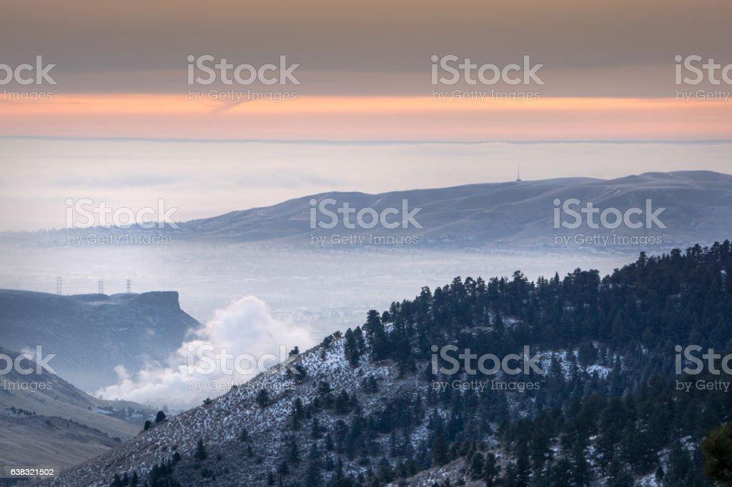 Foggy Morning over Golden, Colorado stock photo