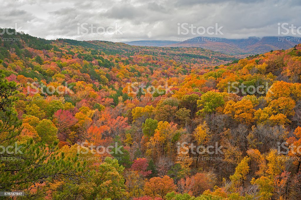 Foggy Mount Magazine, Autumn, Arkansas stock photo