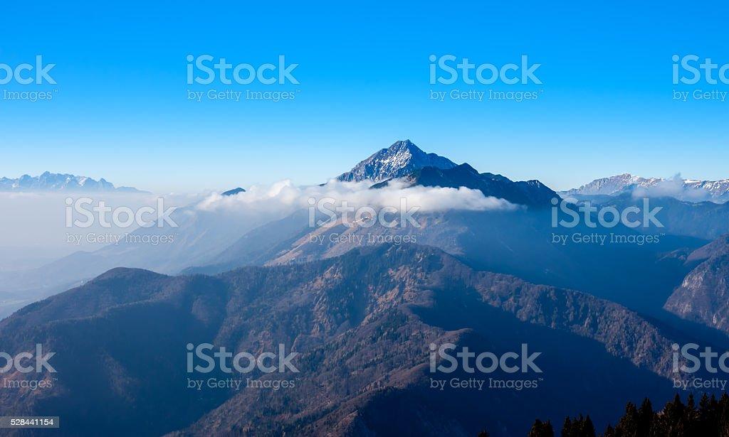 foggy mountain landscape stock photo