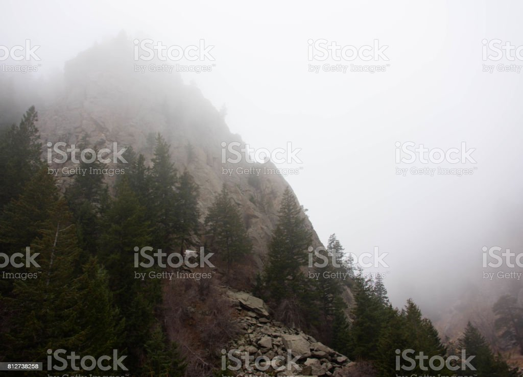 Foggy Mountain Peak stock photo