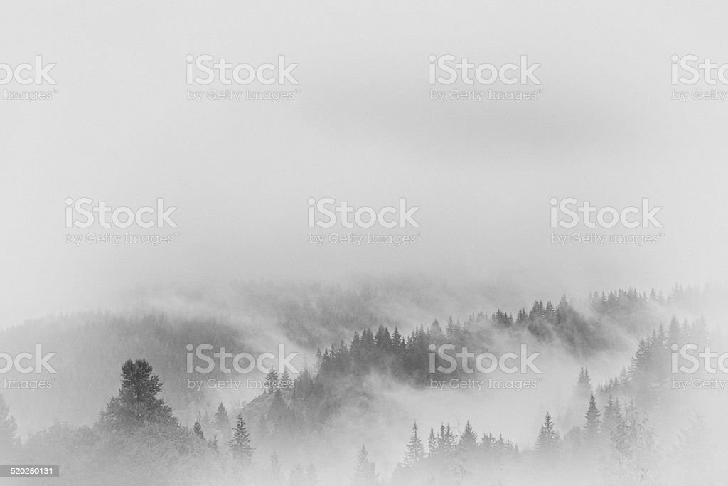 Foggy Mountains in British Columbia, Canada stock photo