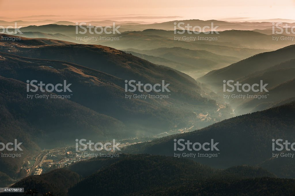 Foggy Mountains stock photo