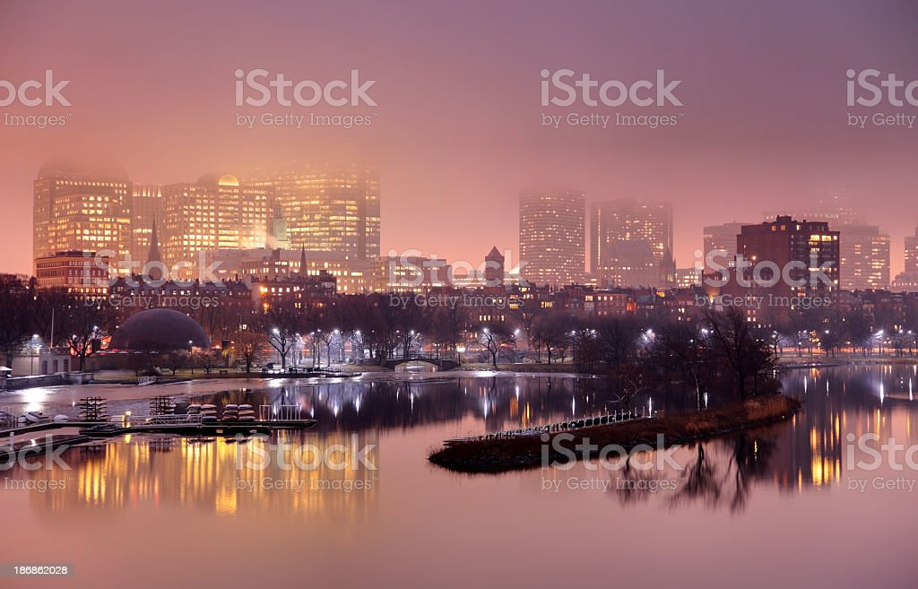 Foggy Night in Boston royalty-free stock photo