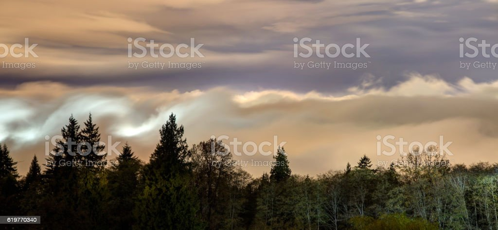 Foggy night view from top of Burnaby Mountain, Canada stock photo