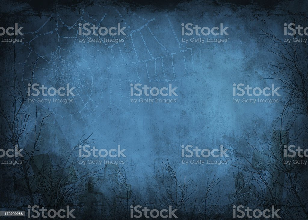 Foggy night view, of bare branches covered in spider webs stock photo