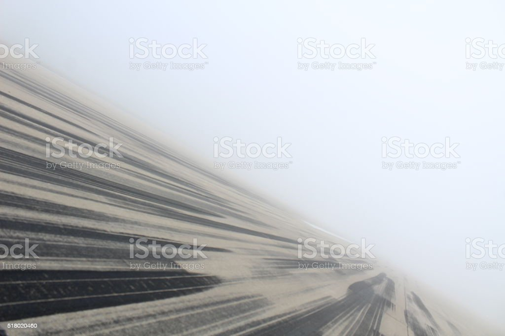 Foggy Open Runway stock photo