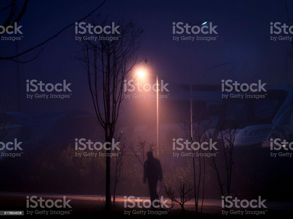 Foggy Person Silhouette stock photo