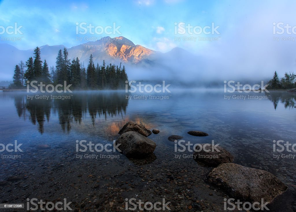 Foggy Pyramid Lake stock photo