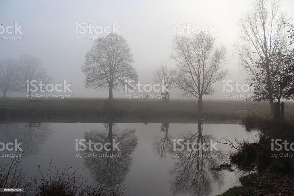 Foggy reflections stock photo