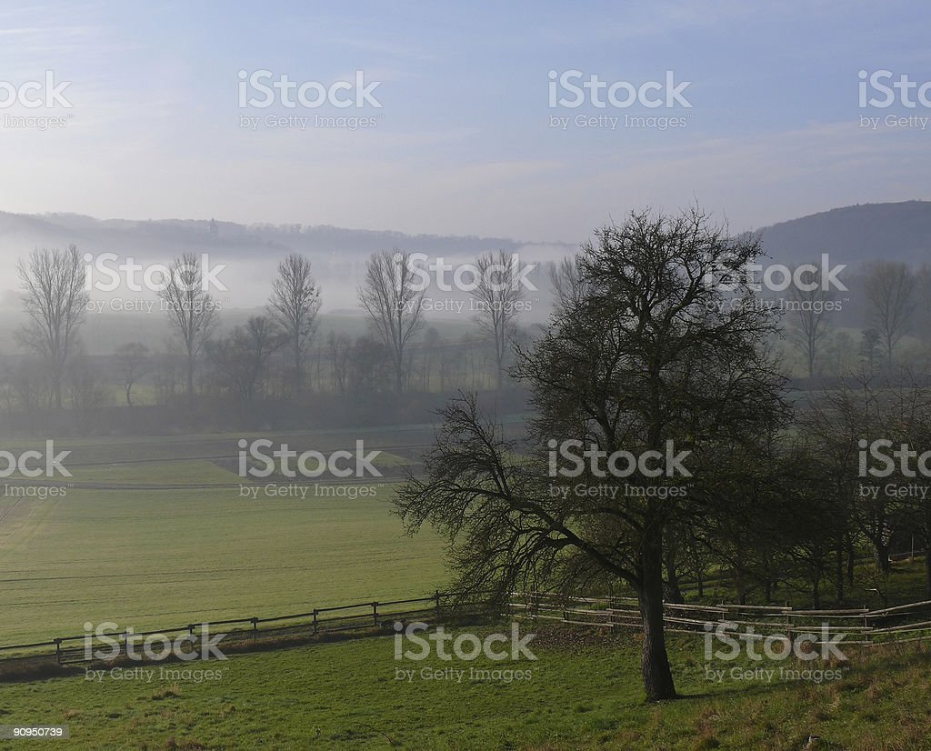 foggy river valley stock photo