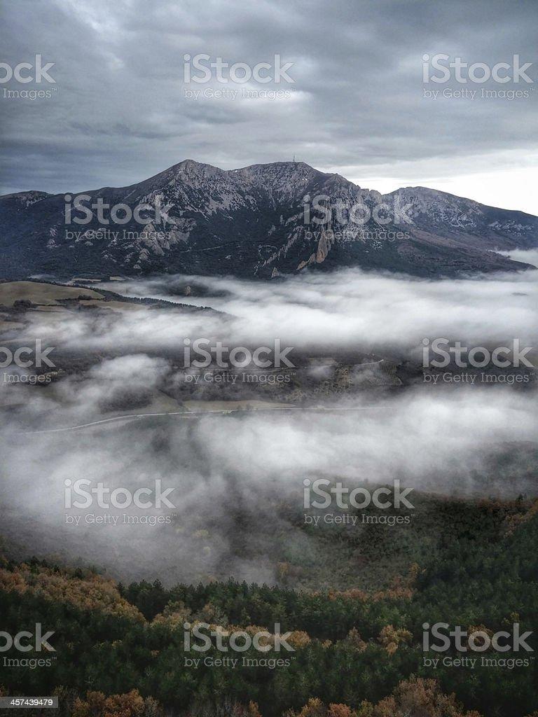 Foggy road. royalty-free stock photo