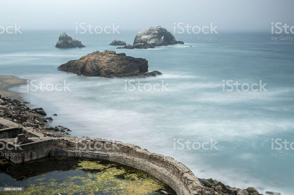 Foggy Ruins of Sutro Baths, San Francisco, California, USA stock photo