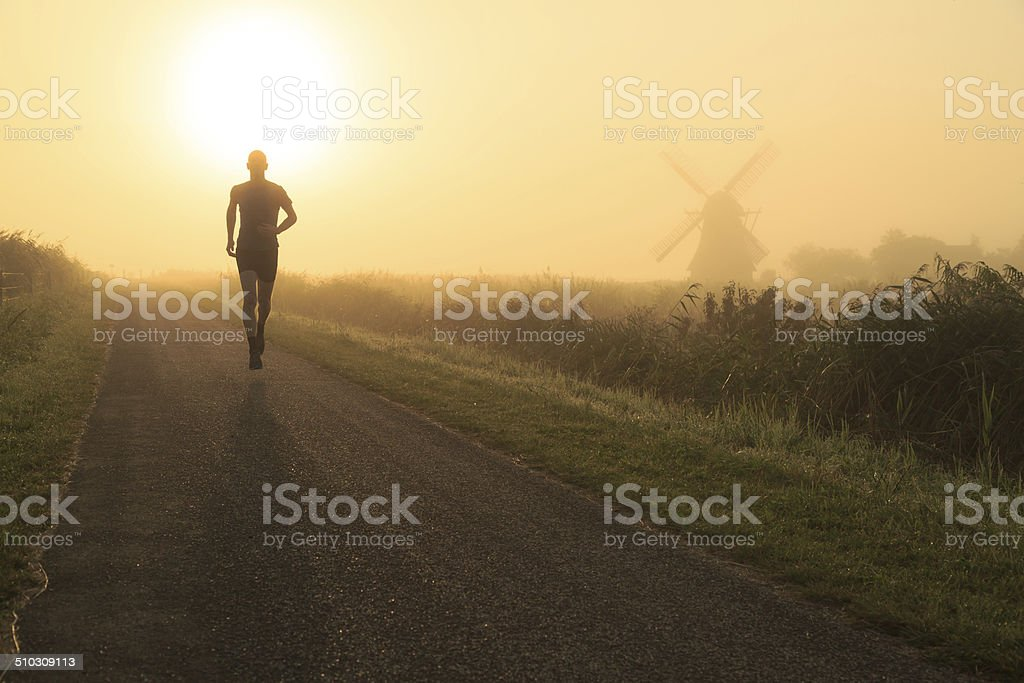 Foggy run stock photo