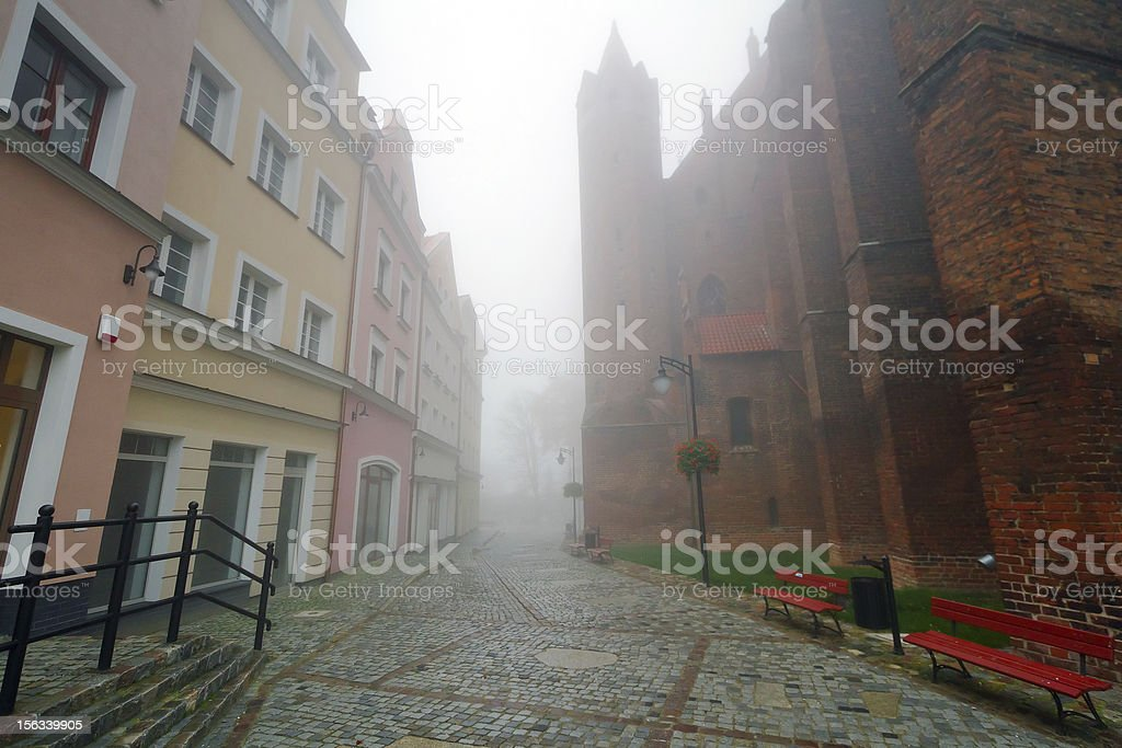 Foggy scenery of Kwidzyn old town stock photo