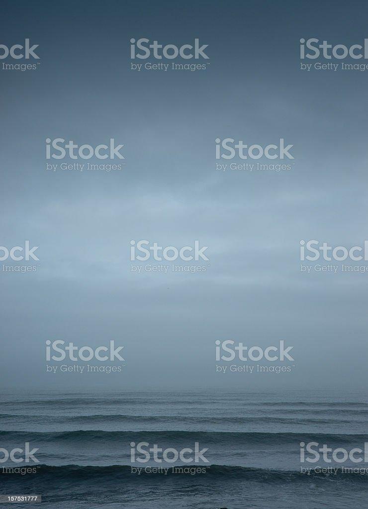 foggy shore stock photo