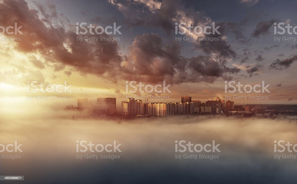 Foggy skyline in the morning stock photo