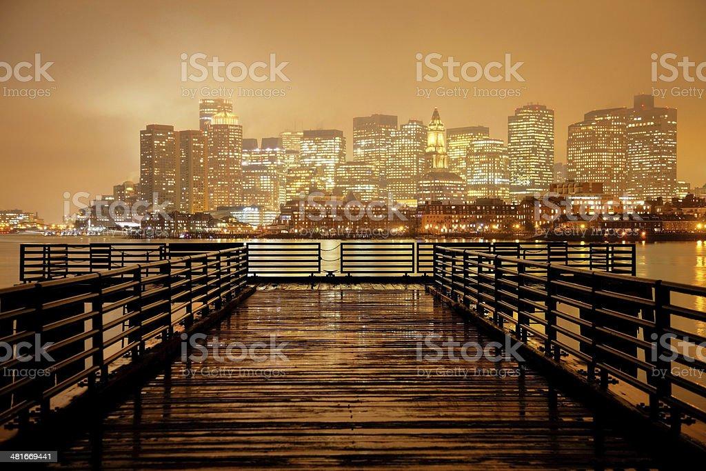 Foggy Skyline of Boston stock photo