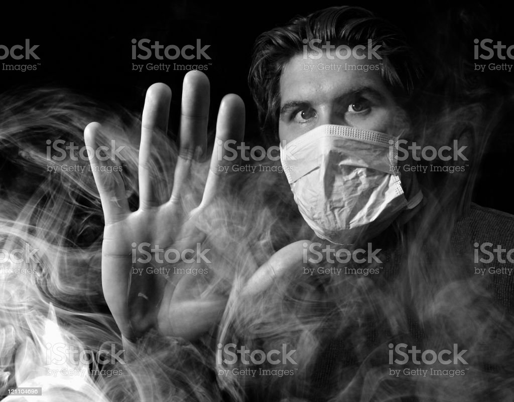 Foggy Smokey Masked Man royalty-free stock photo