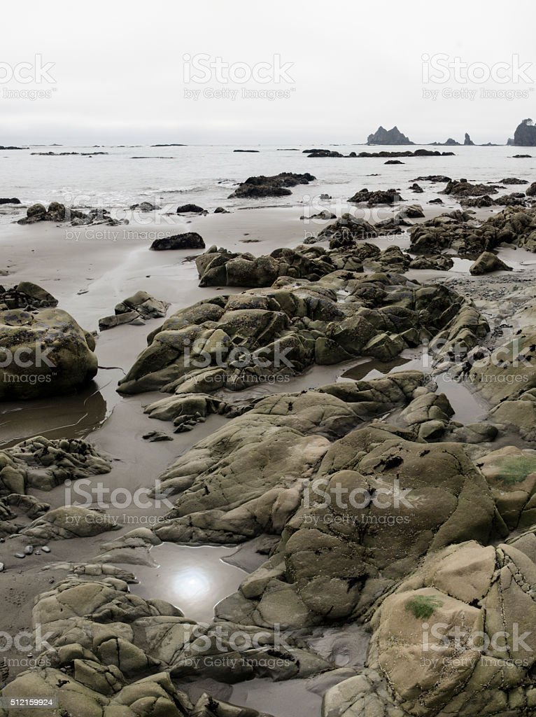 Foggy Sun Reflection on the Olympic Coast stock photo