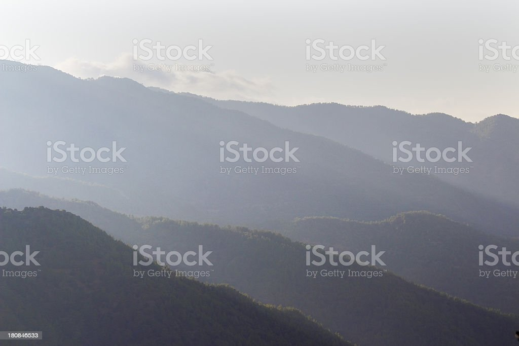 foggy sunrise early morning Troodos cypriate mountains  Cyprus stock photo