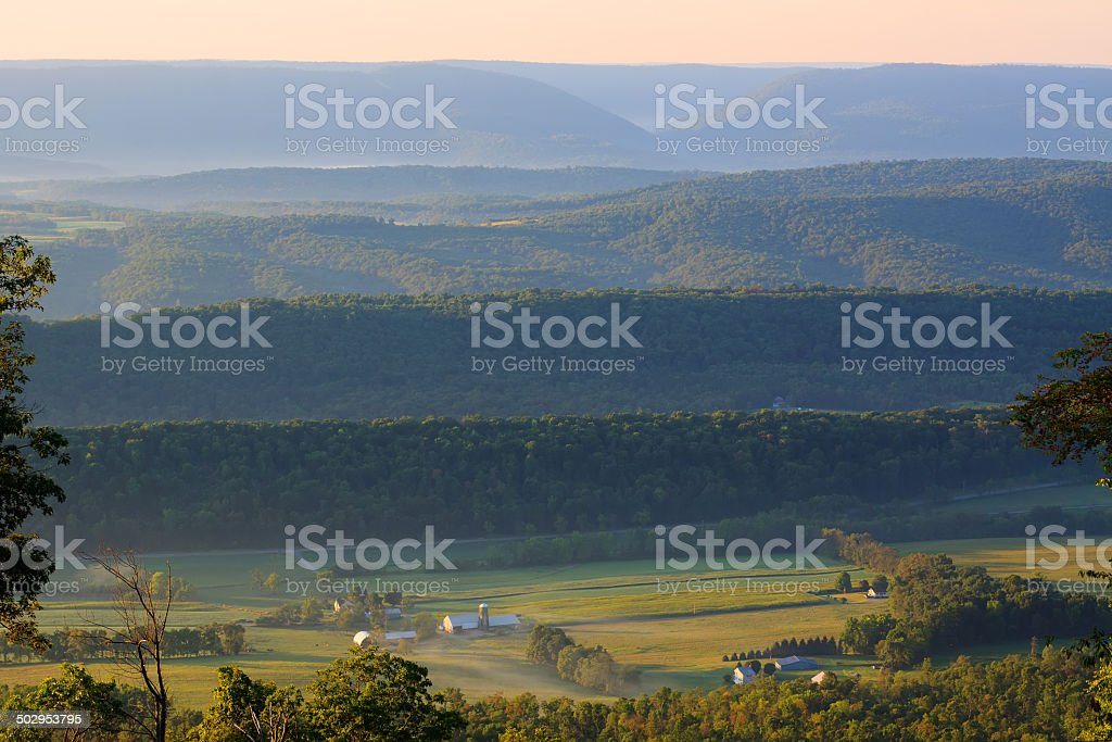 Foggy Sunrise on the Mountain stock photo