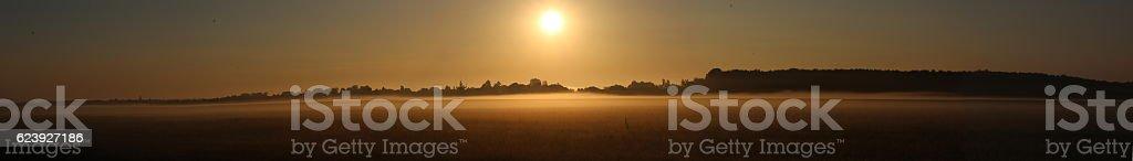 Foggy Sunrise / Sunset stock photo
