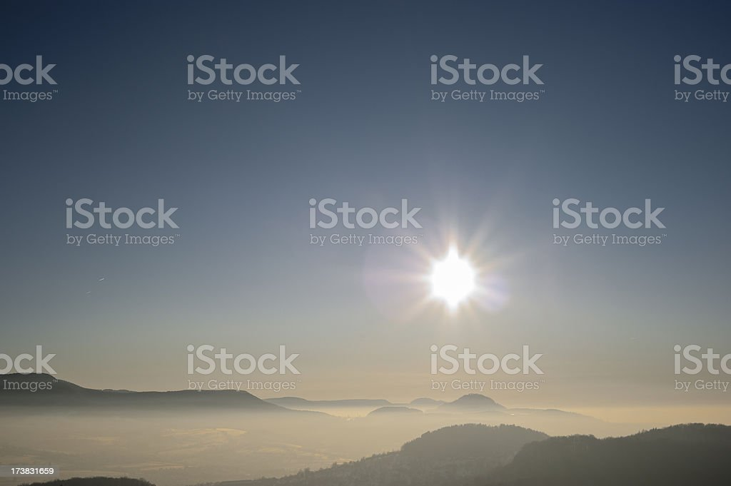 Foggy sunset royalty-free stock photo