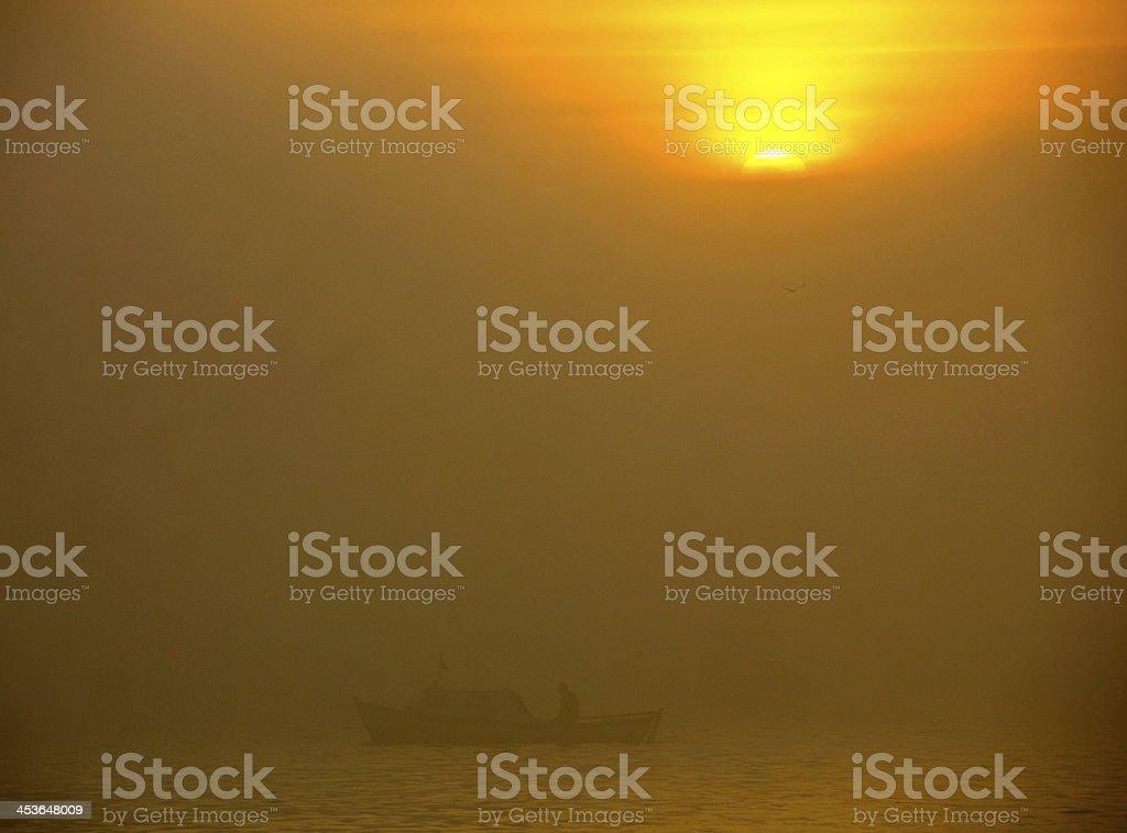 Foggy Sunset stock photo